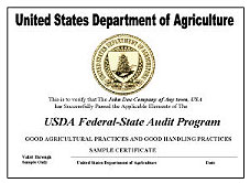 USDA Federal-State Audit Program Certificate